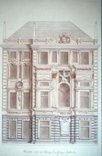 Mauro Nicora. Penna, inchiostro e acquarello su carta. Bozzetto della facciata Nord di Palazzo S. Giorgio.