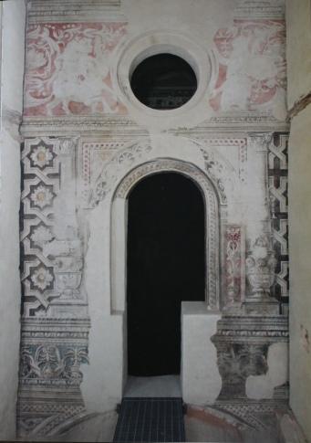 La porzione di affresco originale ritrovato e restaurato
