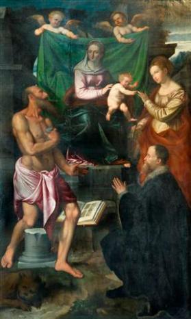 Callisto Piazza, Matrimonio mistico di Santa Caterina d'Alessandria, San Gerolamo e il committente Egidio Bossi, 1542, Chiesa Parrocchiale di Azzate (olio su tela cm 260x158)