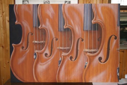 Violini - Mauro Nicora - acrilico su tavola - 2006