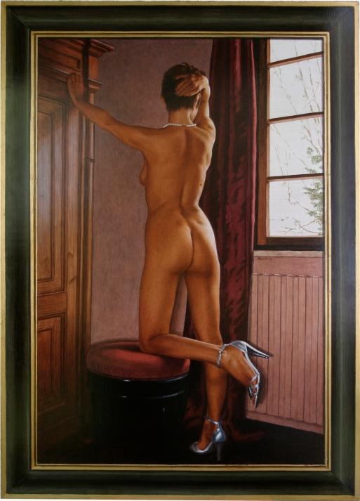 Mauro Nicora - Nudo - anno 2011 - Acrilico su tavola cm.125x90 Cornice a trompe l'oeil in oro zecchino € 2.800,00