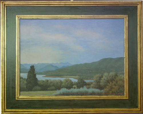 Mauro Nicora - Veduta del lago di Varese - anno 2009 -  Acrilico su tavola cm.80x98. Cornice a trompe l'oeil in oro zecchino. € 1.500,00