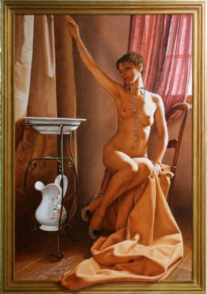 Mauro Nicora - Nudo - anno 2011 - Acrilico su tavola cm.104x76 Cornice a trompe l'oeil in oro zecchino € 3.200,00