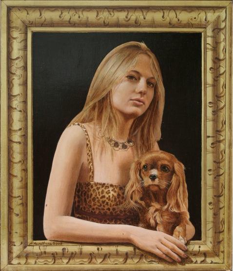 Mauro Nicora - Ritratto - Acrilico su tavola  cm.50x55 - Cornice a trompe l'oeil in oro zecchino € 2.000,00