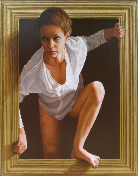 Mauro Nicora - La fuga - anno 2010 - Acrilico su tavola cm.70x88 Cornice a trompe l'oeil in oro zecchino € 2.500,00