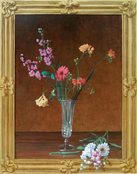 Mauro Nicora - Natura morta - anno 2009 - Acrilico su tavola cm. 80x75 - Cornice a trompe l'oeil in oro zecchino € 800,00