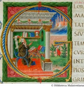 ms. D.IX.1, AUGUSTINUS AURELIUS [SANTO], De civitate Dei Fano, 1450. - Miniature: Maestro del De civitate Dei, [anonimo maestro ferrarese]. (Sant'Agostino nello studio), c. 15r.