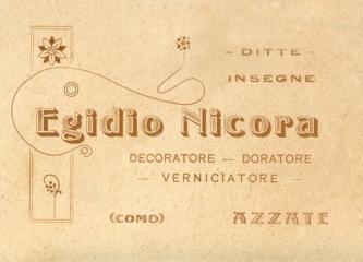 Biglietto da visita di Egidio Nicora - Notare che a quei tempi Azzate era in provincia di Como.