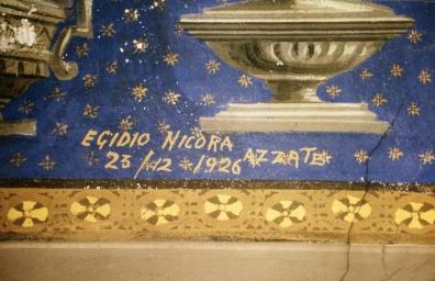 Firma di Egidio Nicora all'interno della parrocchiale di Azzate