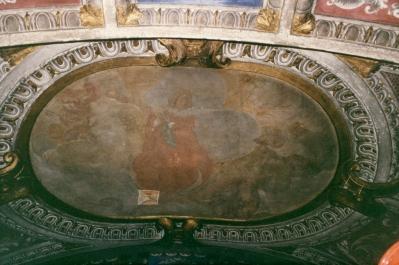 Cappella della Madonna. Saggio di prova di pulitura sugli affreschi della volta opera di Isidoro Bianchi (1646). Assunzione di Maria in cielo.