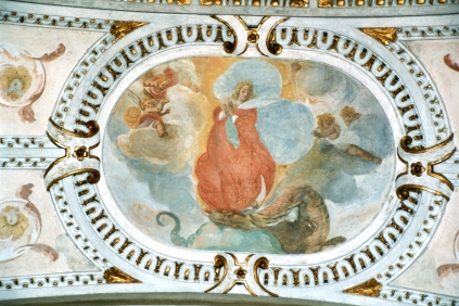 Cappella della Madonna.  (Isidoro Bianchi 1646). Volta. Assunzione di Maria dopo i restauri.