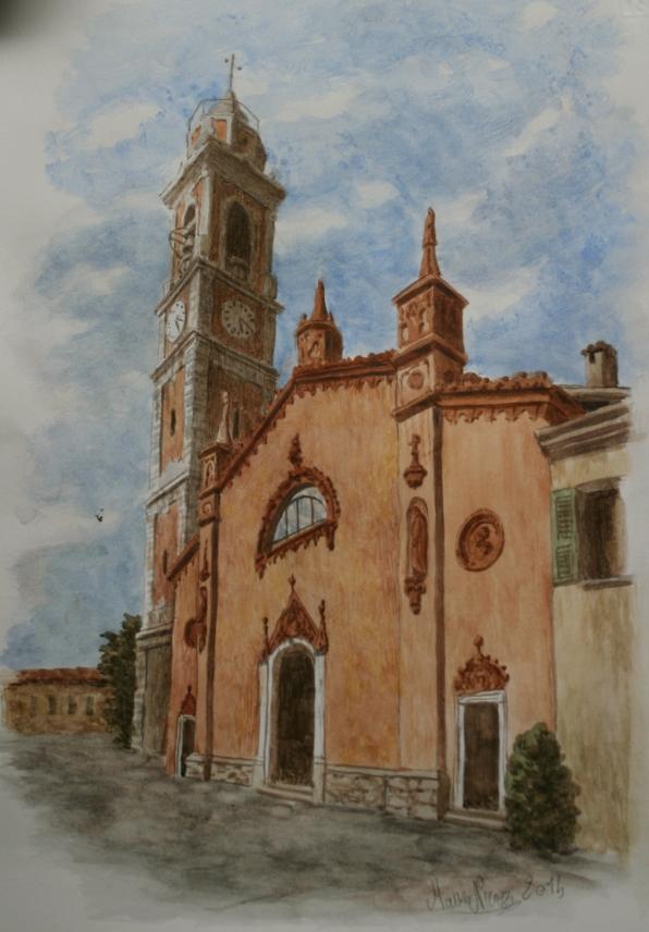 Mauro Nicora. Chiesa di Azzate. Acquarello 20x30. Settembre 2014.