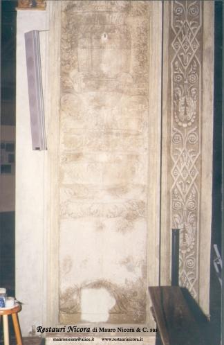 Santa Maria presso San Satiro Milano - Navata sinistra - Pilastro a candelabri prima dei restauri