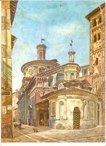 Chiesa di Santa Maria presso San Satiro dipinta ad acquarello da Luigi Bisi (seconda metà XIX sec)