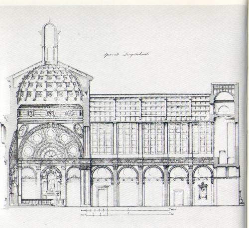 Sezione longitudinale di Santa Maria presso San Satiro Milano - Rilievo di F. Cassina (1840-62) (Milano, Civica Raccolta delle Stampe A. Bertarelli)