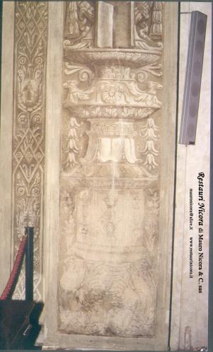 Santa Maria presso San Satiro Milano - Transetto destro - Particolare pilastro a candelabra durante le operazioni di restauro