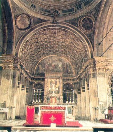 """Santa maria presso San Satiro Milano - Veduta d'insieme della """"prospettiva bramantesca"""" prima dei restauri del 1986."""