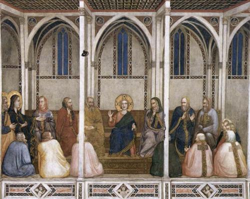 """""""Cristo tra i Dottori (transetto nord, Basilica inferiore di San Francesco, Assisi)""""  Giotto di Bondone 1311"""