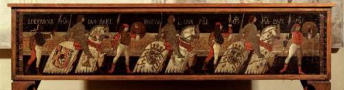 Cassone dei Tre Duchi - Cassone dipinto, sul fronte, con i tre duchi - 189 cm x 43 cm - Milano (MI), Raccolte Artistiche del Castello Sforzesco. Museo delle Arti Decorative
