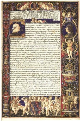 """Frontespizio della """"Sforziade"""" miniato da G.P. Birraio (1490) Londra British Library. In basso scudo araldico di Ludovico Maria Sforza."""