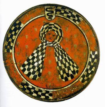 """Le rotelle milanesi bottino della battaglia di Giornico - 1478 - Impresa del velo annodato detto """"Capitergium cum gassa"""" con tessuto decorato con il fasciato ondato sforzesco come parte della bordura."""