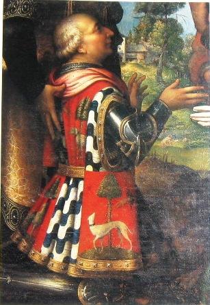 Francesco Sforza (1401-1466), padre di Ludovico. Dettaglio della Pala di S. Sigismondo, Cremona. Campi Giulio (1539)
