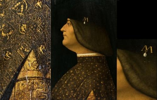 Al centro ritratto di Ludovico il Moro attribuito a Giovanni Antonio Boltraffio (Milano, 1467 – Milano, 1516) Tavola, collezione privata. Ai lati particolari del dipinto.