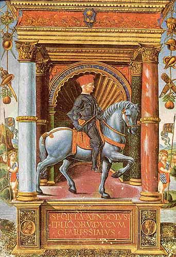Ritratto equestre di Muzio Attendolo Sforza (Cotignola, 1369-Pescara, 1424) in una miniatura di G. P. Birago (1480 ca.) Paris, Bibliothèque Nationale De France (Library). Ai lati delle colonne i due paggi indossano una cotta d'armi con l'emblema del fasciato andato sforzesco.