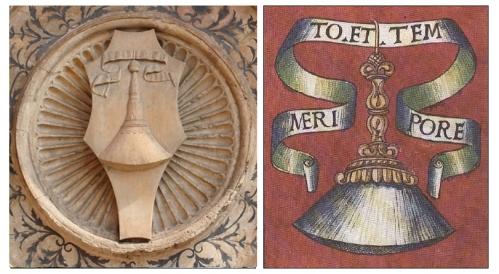 A sinistra - Impresa della scopetta scolpita su un clipeo in Santa Maria delle Grazie a Milano. A destra - L'impresa della scopetta.