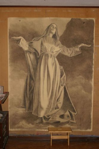 Mauro Nicora, 2015 - Assunzione - Chiesa di Santa Maria nascente, Bodio-Lomnago (VA). Cartone preparatorio (carboncino su carta) Studio e ingrandimento della figura della Madonna per la realizzazione dello spolvero.