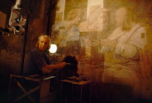 Pinin Brambilla Barcilon all'inizio dei lavori di restauro sull'Ultima Cena di Leonardo