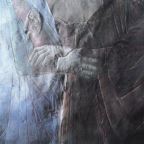 Domenico Ghirlandaio, Visitazione, affresco. Firenze, chiesa di Santa Maria Novella, Cappella Maggiore parete destra, particolare a luce radente. Si evidenziano i tratti incisi mediante cartone.