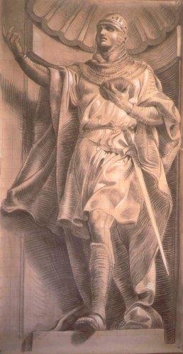 Mauro Nicora, Guglielmo Embriaco, cartone preparatorio metà del vero per la realizzazione della facciata a mare di Palazzo San Giorgio Genova.