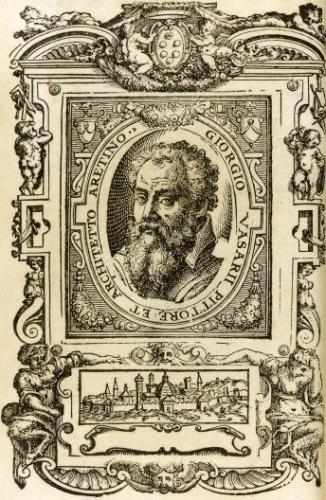 """Autoritratto inciso di Giorgio Vasari sul frontespizio della prima edizione delle """"Vite de' più eccellenti pittori scultori e architettori"""", 1550."""