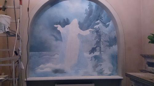 Mauro Nicora, Assunzione, 2015, Chiesa di S. Maria Nascente e S. Giorgio, Bodio-Lomnago, Varese. Prime fasi di coloritura.