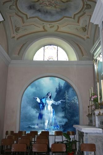 Progettazione grafica virtuale Madonna dell'Assunzione, Chiesa di S. Maria Nascente e S. Giorgio, Bodio-Lomnago Varese. Inserimento del bozzetto nella nicchia ove si  andrà a dipingere.