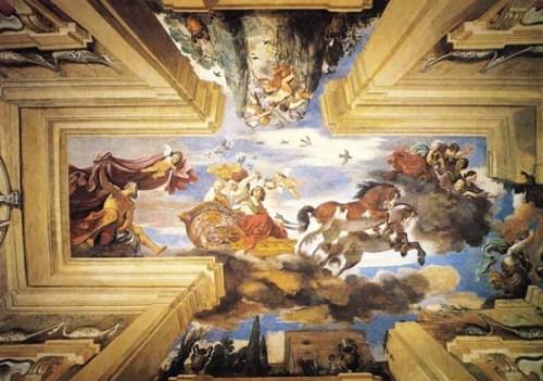 Il Carro dell'Aurora, realizzato dal Guercino, all'interno della Casina dell'Aurora