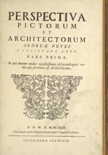 Frontespizio del libro di A. Pozzo, De perspectiva pictorum et architectorum