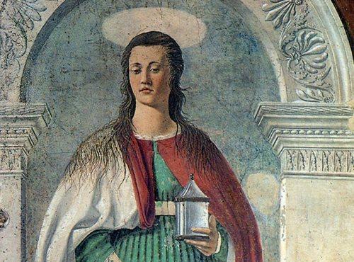 Piero della Francesca, Maria Maddalena (particolare), affresco, Cattedrale di San Donato, Arezzo