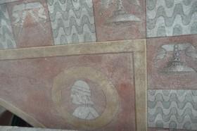 Fascia angolo destro finestra primo piano – Medaglione con busto di profilo di Ludovico il Moro Operazione di integrazione pittorica