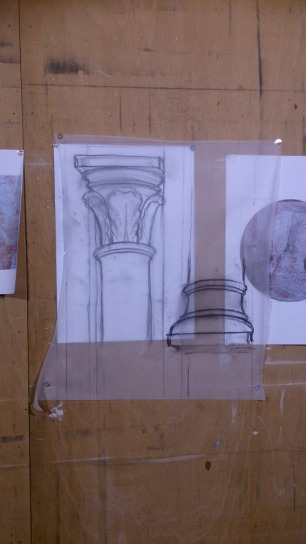 Preparazione in studio - Disegno e spolvero del capitello