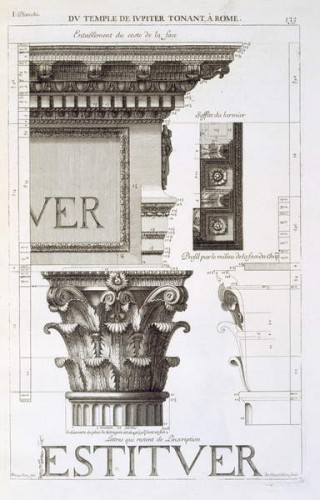 antoine babuty desgodets - entablature capital and inscription from the temple of jupit - (meisterdrucke-316151)